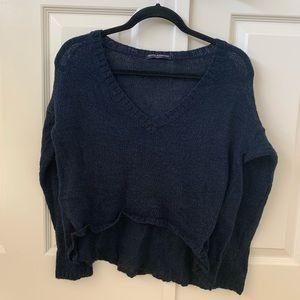 Brandy Melville V-Neck Sweater Navy